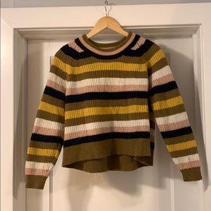Striped boxy long sleeve sweater